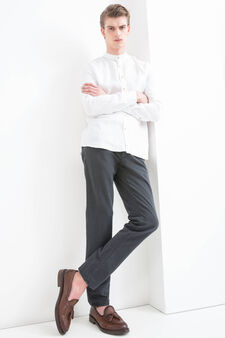 Slim-fit chino trousers in stretch twill, Black, hi-res