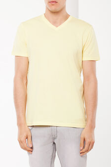 T-shirt with a V neck, Canary Yellow, hi-res