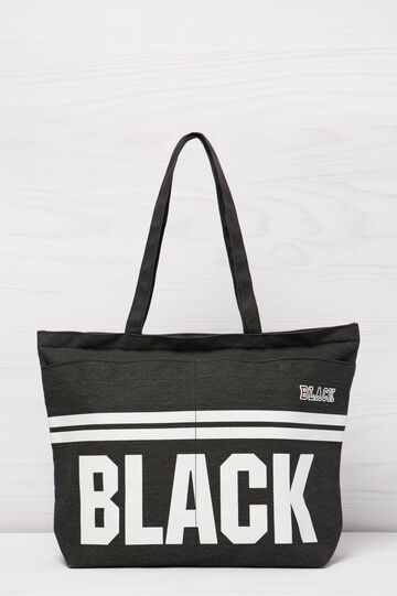 Cotton shopping bag with print, Black, hi-res