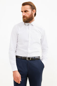 Camicia formale slim fit cotone a pois, Bianco, hi-res