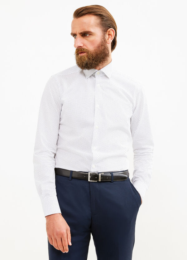 Cotton slim fit formal shirt with polka dot pattern | OVS
