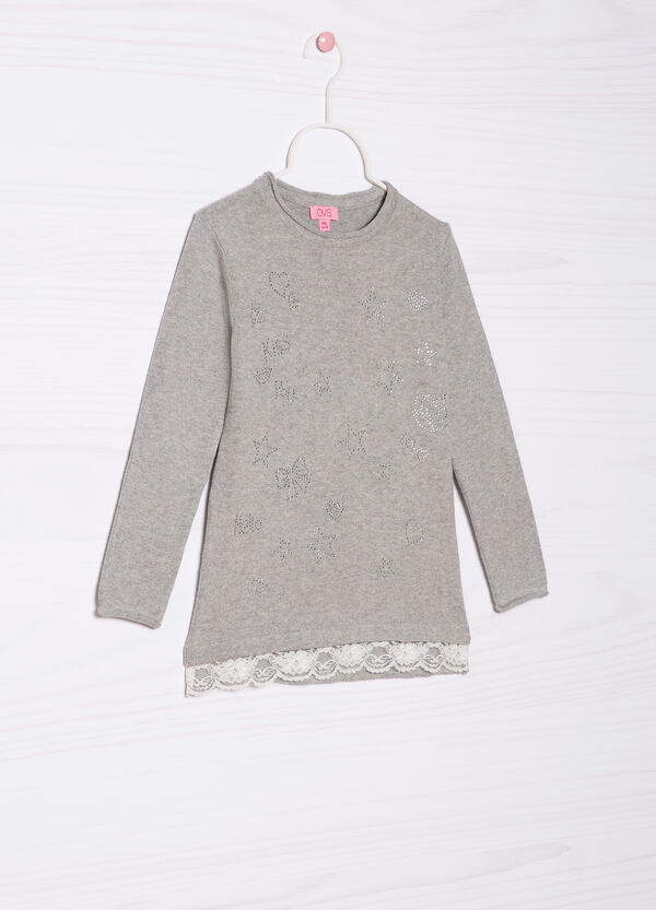 Diamanté pullover in 100% cotton | OVS