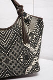 Geometric pattern shoulder bag, Black/White, hi-res
