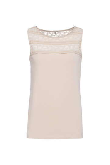Smart Basic cotton top with lace, Beige, hi-res