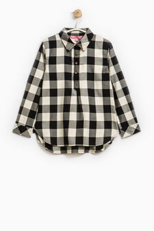 Check patterned shirt in 100% cotton, Black, hi-res
