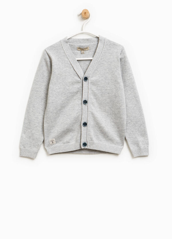 Cardigan with V-neck and ribbing | OVS