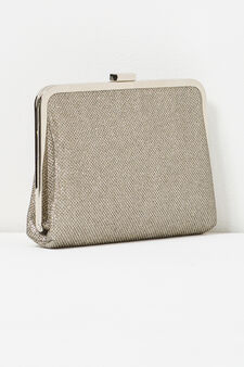Clutch bag with raised pattern, Platinum, hi-res