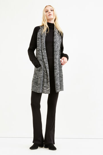 Long cardigan with contrasting sleeves, Black/White, hi-res