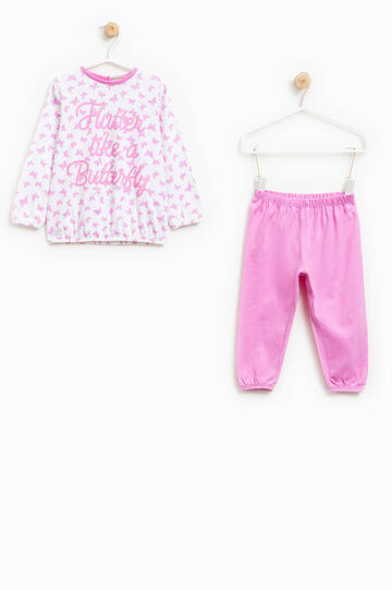 Cotton pyjamas with butterfly pattern, White/Pink, hi-res