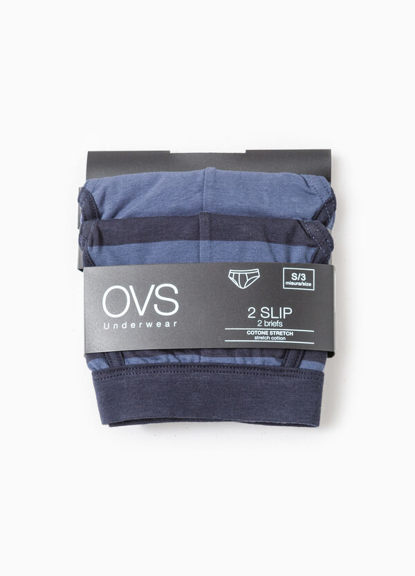 Two-pack striped stretch cotton briefs | OVS