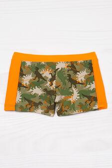 Dinosaur print stretch swim boxer shorts, Army Green, hi-res