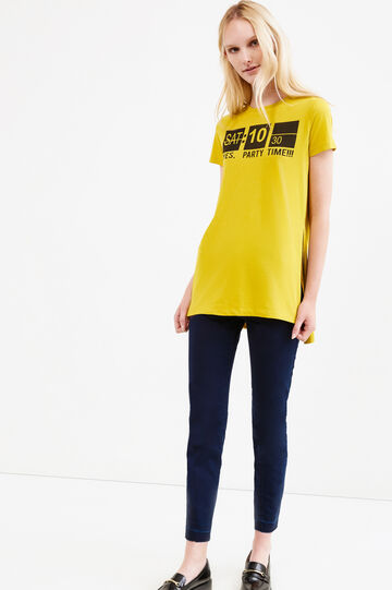 Printed long T-shirt in 100% cotton, Yellow, hi-res