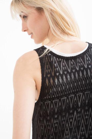 Geometric patterned top, Black, hi-res