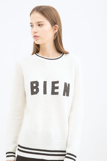 Pullover con stampa, Bianco/Nero, hi-res
