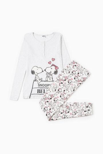 Cotton pyjamas with Snoopy pattern, Grey Marl, hi-res