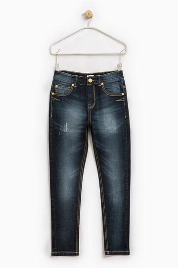 Jeans stretch used con abrasioni, Blu scuro, hi-res