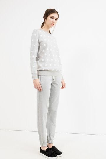 Pantaloni tuta lino cotone con coulisse, Grigio melange, hi-res