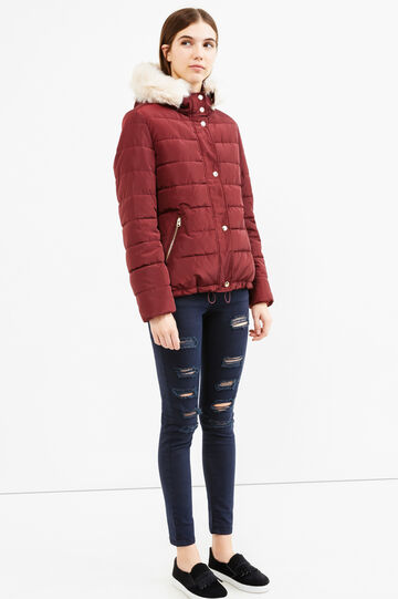Down jacket with fur and drawstring, Dark Red, hi-res