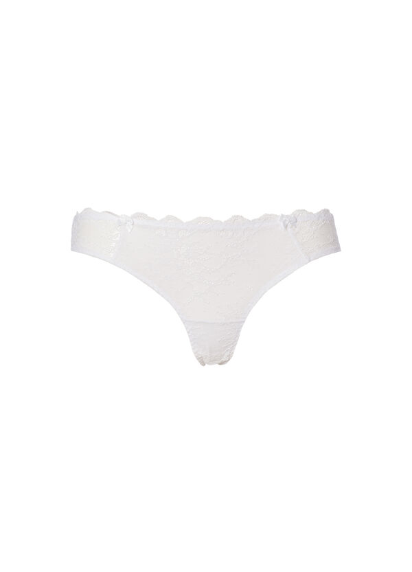 Stretch Brazilian briefs with lace | OVS