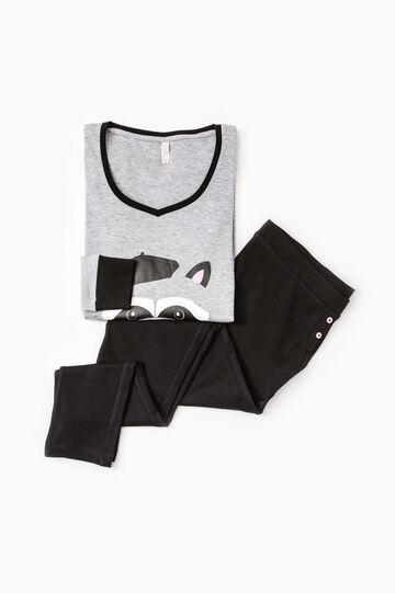 Cotton pyjamas with raccoon print, Grey Marl, hi-res