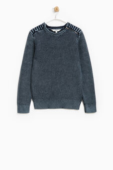 100% cotton pullover with zip on the shoulder, Blue, hi-res