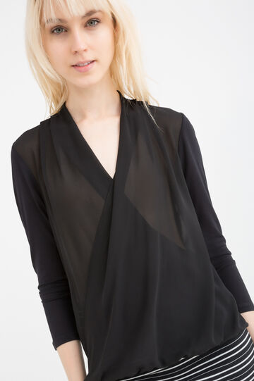Crossover long blouse, Black, hi-res