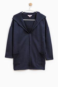 100% cotton hooded cardigan, Dark Blue, hi-res