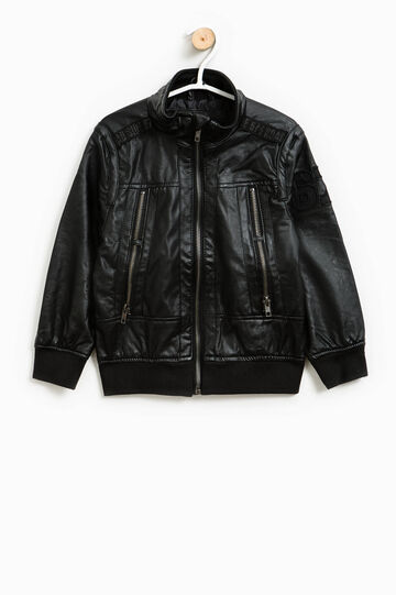 Leather-look jacket with patches, Black, hi-res