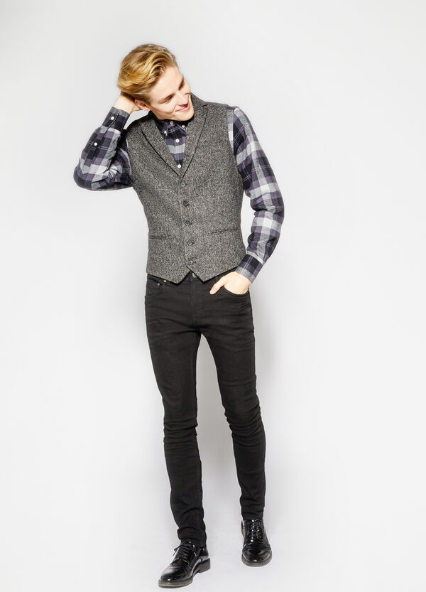 Viscose blend waistcoat with contrasting back | OVS