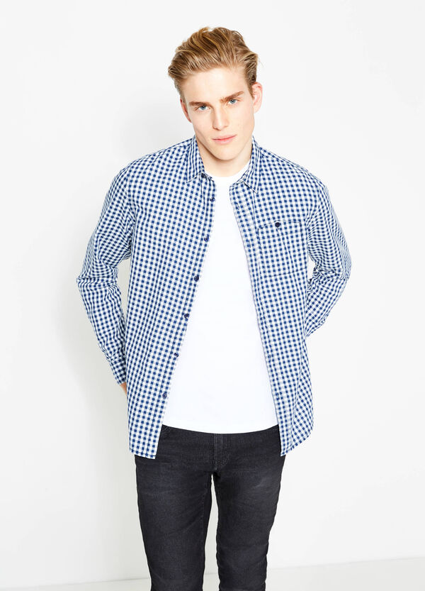 Casual slim-fit check shirt in cotton | OVS
