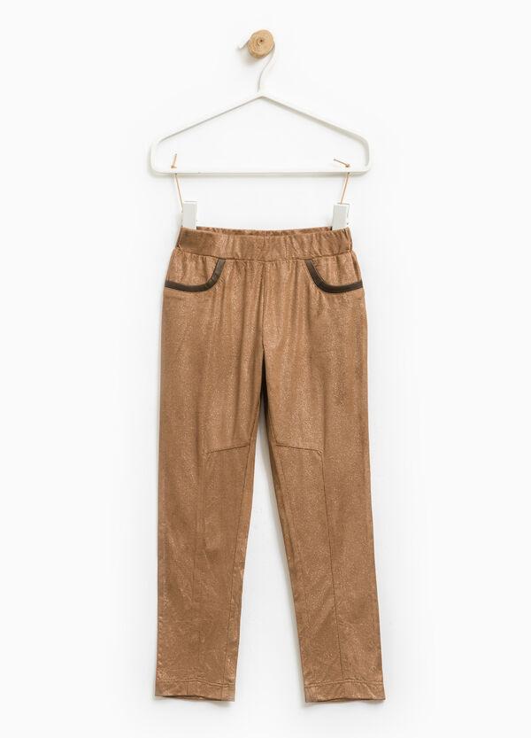 Solid colour stretch glitter leggings | OVS