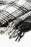 Knitted check scarf., Black/White, hi-res