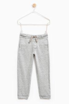 Pantaloni tuta puro cotone tinta unita, Grigio, hi-res