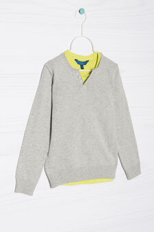 100% cotton faux double pullover, Grey/Green, hi-res