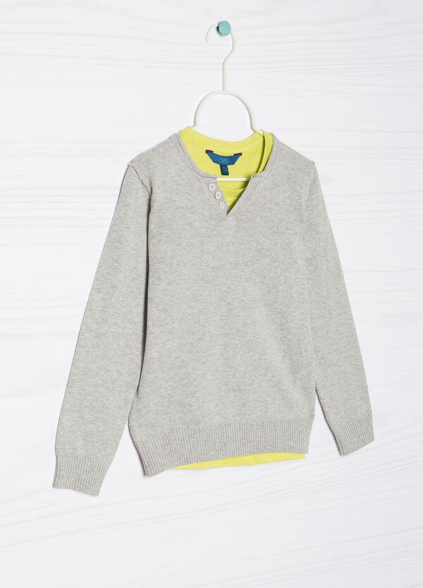 Pullover finto doppio puro cotone | OVS