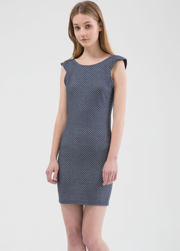 Patterned dress in stretch cotton | OVS