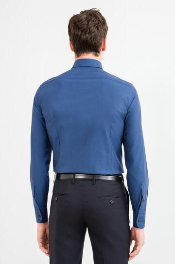 Slim-fit micro-polka dot casual shirt, Dark Blue, hi-res