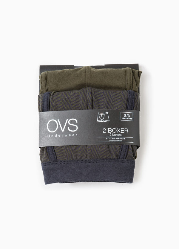 Two-pack stretch boxer shorts striped and solid colour | OVS