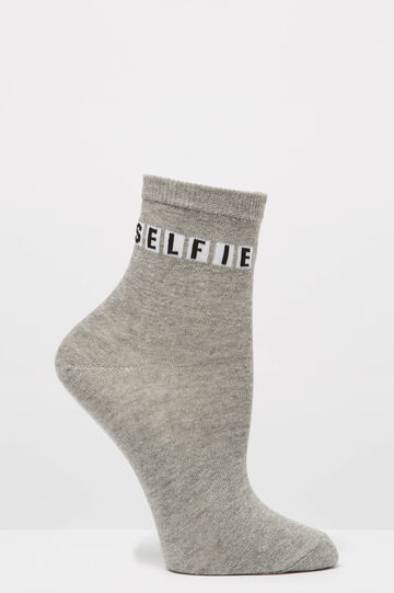 Cotton blend socks with printed lettering, Grey, hi-res