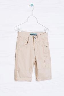 Solid colour 100% cotton shorts, Beige, hi-res