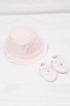 Biocotton hat and shoes set, White/Pink, hi-res