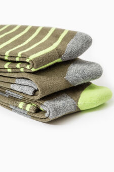 Three-pair pack long socks with embroidered lettering, Green, hi-res