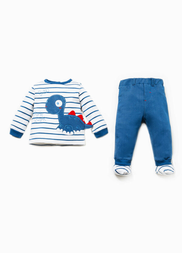 T-shirt and striped baby leggings outfit | OVS