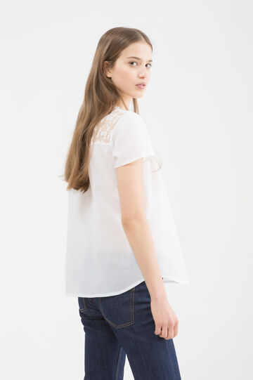 100% cotton shirt with lace, White, hi-res