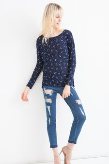 Stretch viscose sweatshirt with print, Navy Blue, hi-res