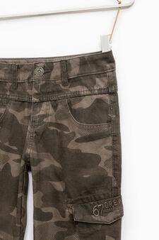Pantaloni cotone stampa camouflage, Verde, hi-res