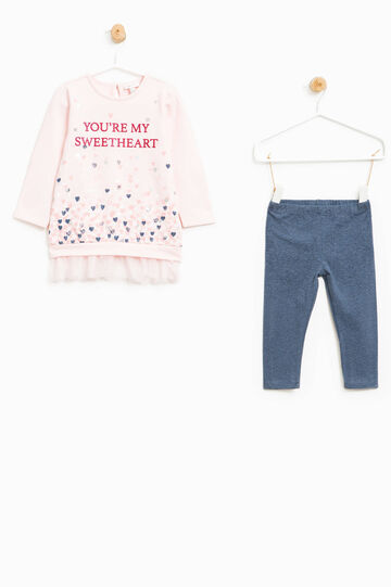 Stretch outfit with glitter print, Blue/Pink, hi-res
