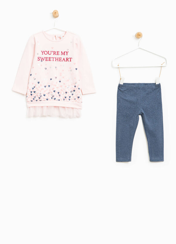 Stretch outfit with glitter print | OVS