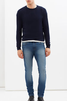 Round neck sweater, Dark Blue, hi-res