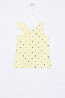Stretch cotton patterned vest top, Yellow, hi-res